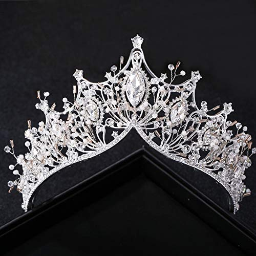 Jescrich Crystal Tiara Crown Queen Crowns Rhinestone Pageant Prom Birthday Party Bridal Wedding Hair Accessories for Women and Girls (Silver) ()
