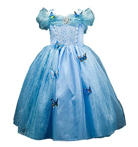 [Domiray New Cinderella Dress Princess Costume Blue Butterfly Girl Dress (2T-3T, Blue)] (Cinderella Dress Up)