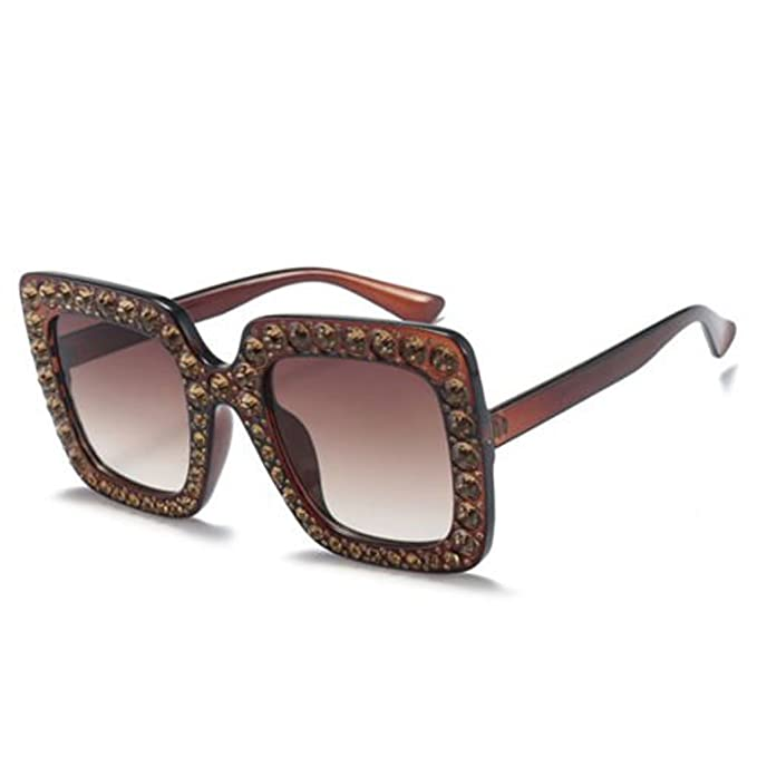 c222f027fe5 2018 Oversized Square Frame Bling Rhinestone Sunglasses Women Fashion Shades  UK (Brown Frame)  Amazon.co.uk  Clothing