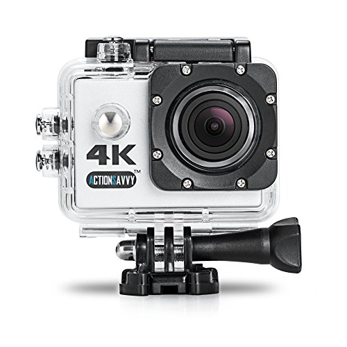 ActionSavvy Inspire 4K Action Camera  25FPS 98feet Waterproof Wireless 2' Screen Wide Angle Surfing Diving Snorkeling Camera