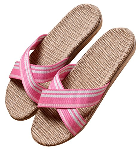 Blubi Mujeres Contraste Color Open Toe Light Flax Verano Zapatillas Summer House Zapatillas Blanco
