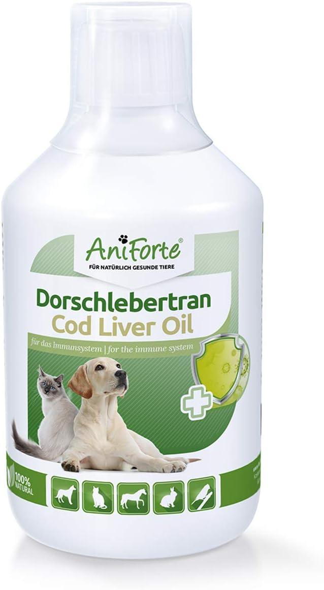 AniForte Aceite de hígado de bacalao para perros, gatos y caballos 500 ml - Aceite de BARF, vitaminas y ácidos grasos omega-3 EPA y DHA, apoyo al crecimiento óseo, defensa y sistema inmunológico