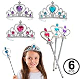 Funny Party Hats Princess Accessories - Princess Wand and Tiara - 6 Pc Princess Party Tiaras and Wands