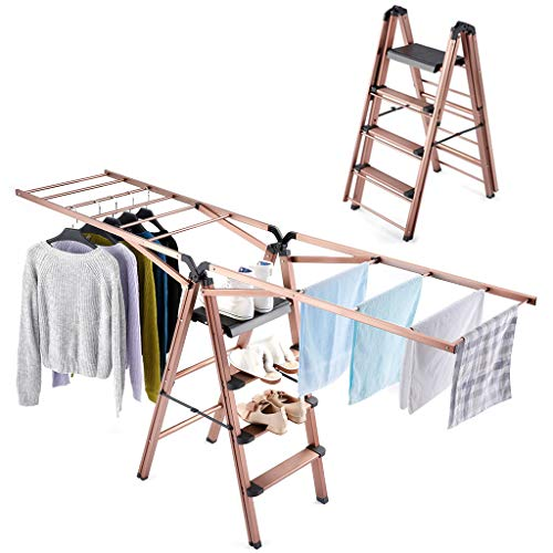Rackaphile Clothes Drying Rack, 2 in 1 Laundry Drying Rack Step Ladder Aluminum Folding Drying Racks for Laundry Heavy Duty Foldable Clothing Drying Rack Indoor Outdoor ()