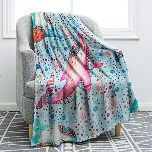 "Jekeno Flannel Fleece Blanket Dolphin Print Cozy Ligtweight Durable Bed Couch Blanket Plush Microfiber 50""x60"""