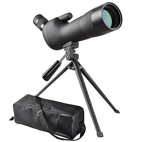 AW 20-60x60mm Zoom Angled Spotting Scope Monocular Telescope Angled Eyepiece Waterproof with Tripod and Soft Case