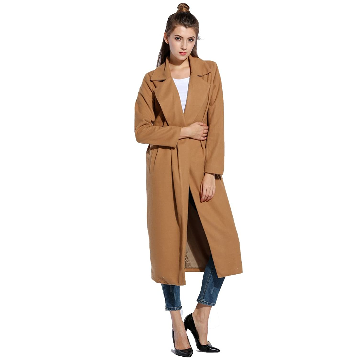 SFY New Casual Women Warm Winter Wool Trench Coat Parka Long Jacket Outwear
