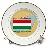 3dRose cp_37593_1 The Map and Flag of Hungary with Republic of Hungary in English and Hungarian Porcelain Plate, 8-Inch