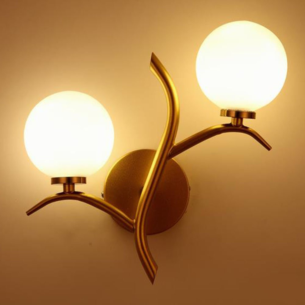 Applique Murale Moderne En Métal, Simple Artistique E27x2 Edison Decor Mur Lampe Avec Abat-Jour En Verre Pour Chambre Chevet Allée Café 220V Max.60W OOFAY Lights