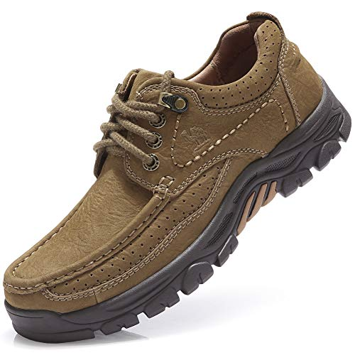 (CAMEL CROWN Mens Loafer Slip-on Shoes Casual Leather Walking Shoes Slip Resistant Driving Sneakers for Business Work Khaki)