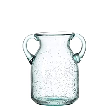 Flower Vase Glass Elegant Double Ear Decorative Handmade Air Bubbles Bluish Color Glass Vase for Centerpiece Home Decor (Small)