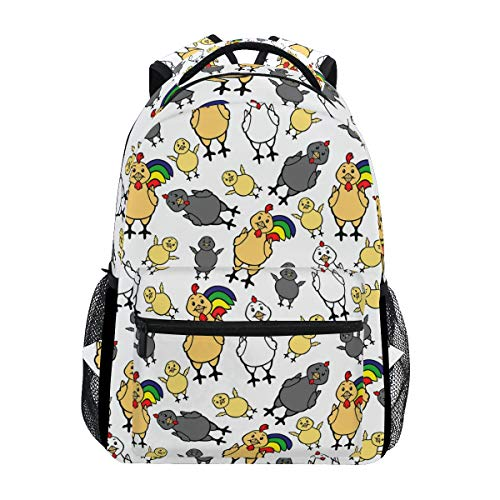 Price comparison product image White Rainbow Rooster Tail Lightweight Backpack Classic Basic Water Resistant Casual Daypack Travel Bottle Side Pockets