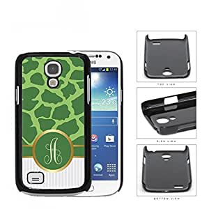 Customized Light and Dark Green Giraffe Animal Print Pattern and White Gray Vertical Stripes on Bottom with Green Monogram in Center Outlined in Gold Hard Plastic Snap On Cell Phone Case Samsung Galaxy S4 SIV Mini I9190