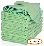 VibraWipe Microfiber Cloth – Pack of 12 Pieces (All-Green) Microfiber Cleaning Cloths, Highly Absorbent, Lint-Free, Streak-Free, for Kitchen, Car, Window