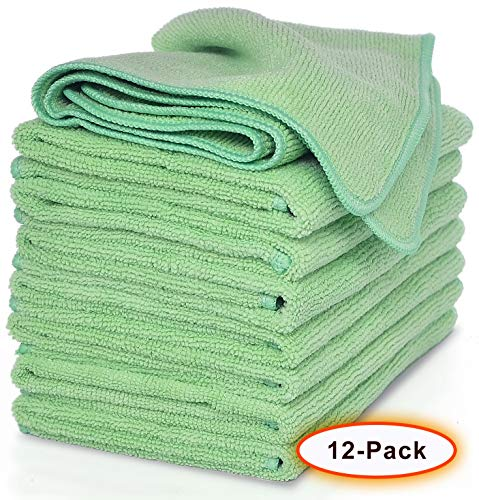 VibraWipe Microfiber Cleaning Cloth - Pack of 12 Pieces (All-Green), Highly Absorbent, Lint-Free, Streak-Free, for Kitchen, Car, Window