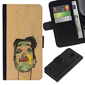 A-type (Artista Pintura Sketch Retrato de Brown) Colorida Impresión Funda Cuero Monedero Caja Bolsa Cubierta Caja Piel Card Slots Para Samsung Galaxy S4 IV I9500