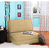 Your Zone - Flip Chair Convertible Sleeper Dorm Bed Couch Lounger Sofa Multi Color New (Khaki)