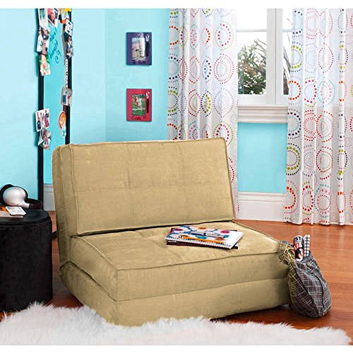 Your Zone – Flip Chair Convertible Sleeper Dorm Bed Couch Lounger Sofa Multi Color New Khaki Khaki