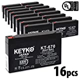 Carpenter Watchman 713524 6V 7Ah / REAL 7.0 Amp Battery AGM / SLA Sealed Lead Acid Genuine KEYKO Replacement - F1 Terminal - 16 Pack
