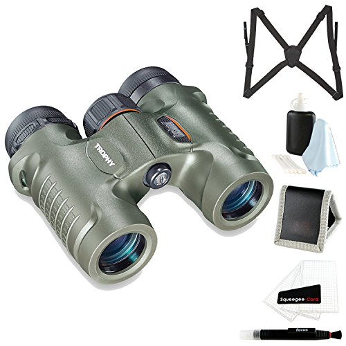 Bushnell Trophy Binocular, 10 x 28mm, Green (332810) with Harness and Glass Care Kit