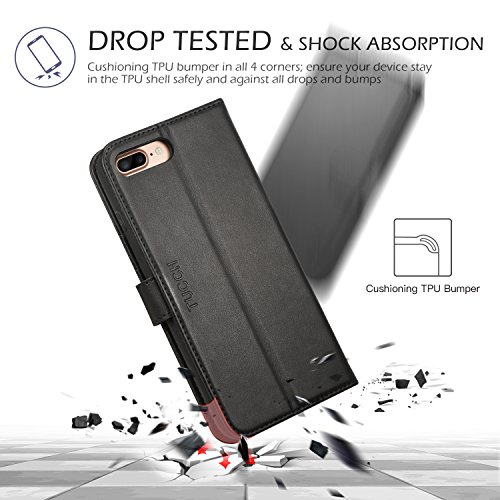 iPhone 8 Plus Wallet Case, iPhone 7 Plus Case, TUCCH Premium PU Leather Flip Folio Case with Card Slot, Cash Clip, Stand Holder and Magnetic Closure [TPU Shockproof Interior Protective Case], Black by TUCCH (Image #7)