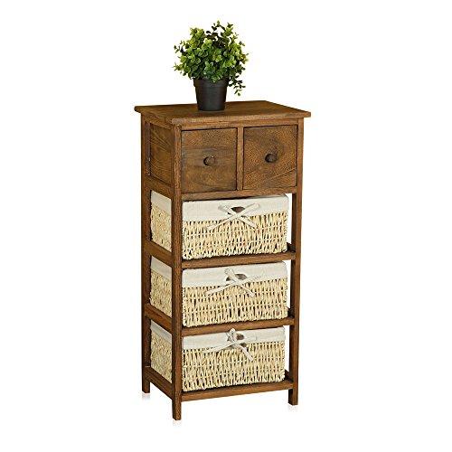Massivholz-Kommode-Schrank-Regal-Sideboard-Holz-Nachttisch-Braun-Schublade-Korb