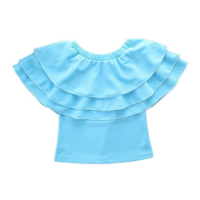 LINNUO T-Shirts Volantes Mujeres Niña Tops Casual Camisetas Blusas Off Shoulder Madre e Hija