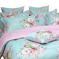 FADFAY Shabby Floral Duvet Cover Set Pink Grid Cotton Farmhouse Bedding with Hidden Zipper Closure 3 Pieces, 1duvet Cover & 2pillowcases,Twin Size