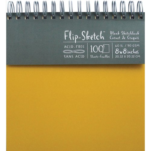 Global Art 960050 8-Inch by 8-Inch Flip Sketch Wire Bound Blank Sketchbook, Butternut, 100 Pages