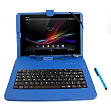 DURAGADGET FRENCH AZERTY Faux Leather Protective Stand Case / Cover With Micro USB Keyboard & Built In Stand For Sony Xperia Tablet Z2, Z & Tab 2 + BONUS Mini Stylus Pen