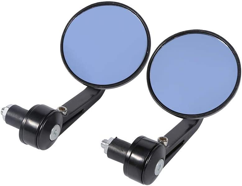 EVGATSAUTO Motorcycle Rearview Mirrors 1 Pair Universal Black Aluminium 7//8 Round Handle Bar End Rear View Rearview Side Mirrors for Motorcycle Motorbike Scooter