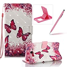 Strap Leather Case for Samsung Galaxy J710 2016,Wallet Stand Flip Case for Samsung Galaxy J710 2016,Herzzer Bookstyle Stylish Pretty 3D Red Butterfly Pattern Magnetic PU Leather with Soft Silicone Inner Back Case for Samsung Galaxy J710 2016