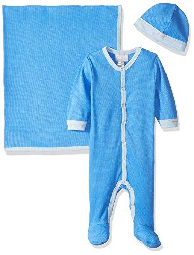 Coccoli Baby Boys' Waffle Knit Cotton Footie + Cap + Blanket, Azure Blue, 6 Months