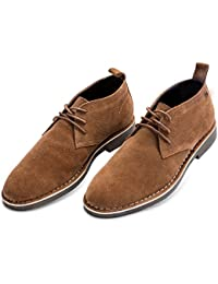"""<span class=""""a-offscreen"""">[Sponsored]</span>Men's Suede Dessert Boot Lace up Leather Oxfords Chukka Ankle Booties"""