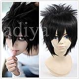 Kadiya Short Black Mens Death Note L Lawliet Cosplay Wigs Synthetic Hair