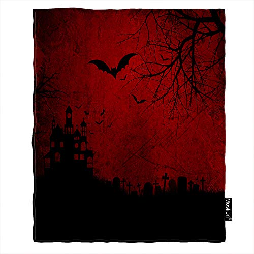 Moslion Halloween Throw Blanket Skull Spooky Bats Spider Ghost Cross Cemetery Grave Stone Castle Tree Blanket Home Decorative Flannel Warm Travel Blankets 30x40 Inch for Pet Dog Cat Red Black]()