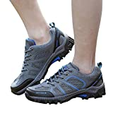 Farjing Lovers Men Women Outdoor Mesh Shoes Casual Lace Up Comfortable Running Mountaineering shoes(US:9,Gray(men))