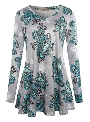 Luranee Tunic Tops for Leggings for Women, Feminine Loose Fitting Shirts Long Sleeve Tops Unique Printed Pleated Leisure Modest Comfy Blouses Durable Baggy Boutique Clothing Green XXL