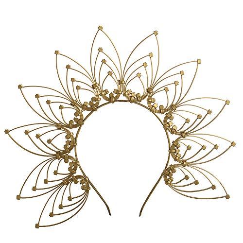 Gothic Crown Halo Crown Sunburst Zip Tie Headband Feather Crown Gold Halo Headband (Gold)
