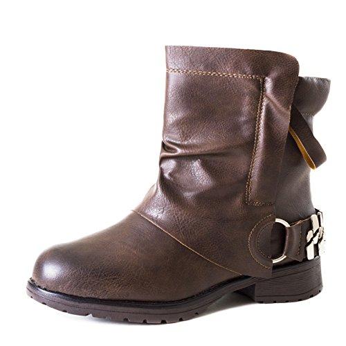 d20abf9fee51 Stylische Damen Biker Boots Metallic Stiefeletten Stiefel mit Schnallen und  Nieten Braun Boston
