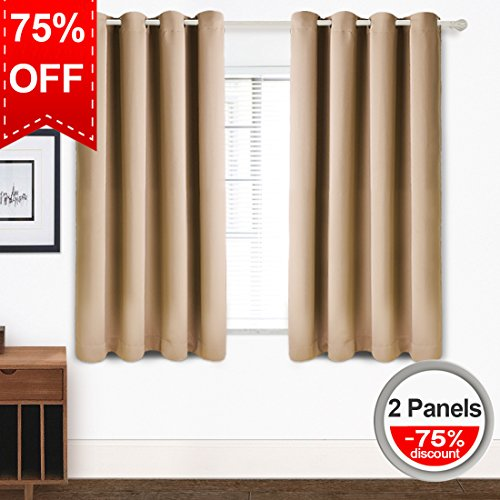 Blackout Curtains Thermal Insulated Grommet Light Blocking Draperies Room Darkening Panels for Living Room, Bedroom, Nursery by TEKAMON (W52