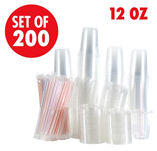 Set of 200 12oz Clear Plastic Cups with Flat Lids, Smoothie Wide Large Straw, Cold Smoothie Iced Coffee Cup with Lids, Great for Cocktail, Juice, Teas, Clear Frozen Drink Beverage (12oz, Flat)