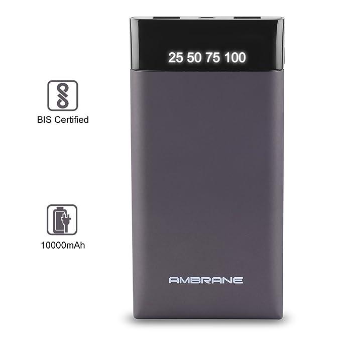 Ambrane Plush PP 10 10000 mAh Power Bank Grey Mobile Accessories