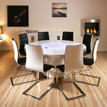 Avant Garde Large Round White Gloss Dining Table 8 White Black