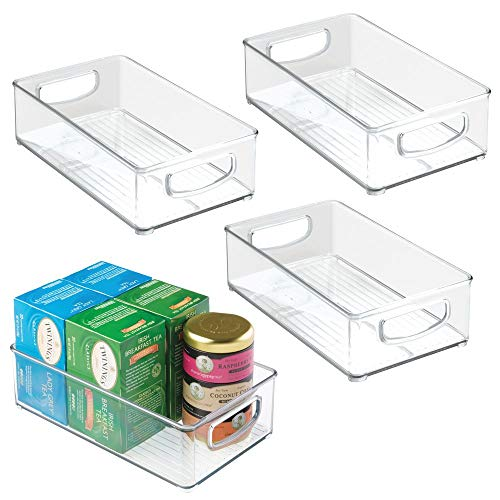 mDesign Kitchen Cabinet and Pantry Storage Organizer Bins - Pack of 4, Shallow, Clear (Best Storage Ideas For Small Apartments)