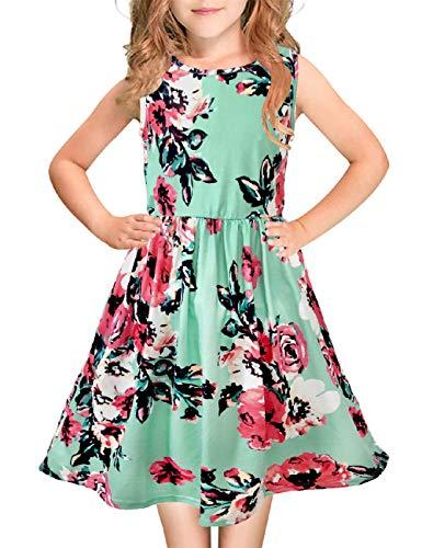 Girls Floral Maxi Dress Kids Summer Casual Pocket Sleeveless Short Dress for Girls 6-12 Year
