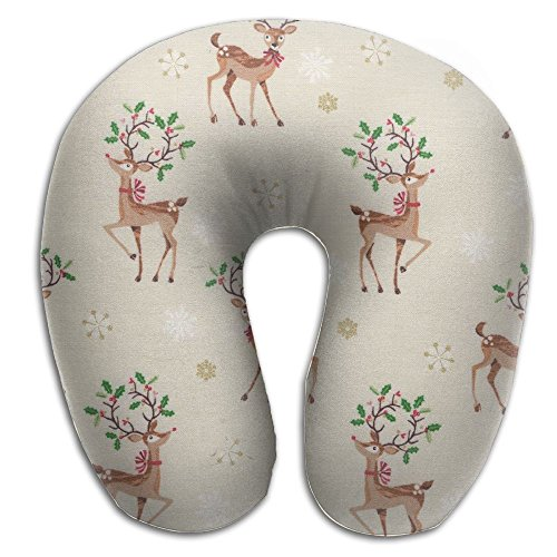 U Shaped Travel Pillow Deer Funny Cartoon Memory Foam Soft Neck Portable Pillow For Flight Train Car And Office Naps Bed Pillows