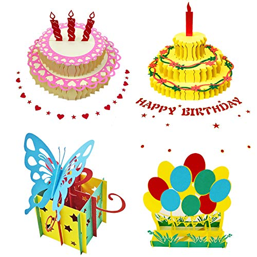 3D Pop Up Birthday/Greeting Cards,Birthday Pop Up Greeting Cards Laser Cut Happy Birthday Pop Out Cards Including Envelopes and Glues Best for Mom,Wife,Sister, Boy,Girl,Friends 4 ()