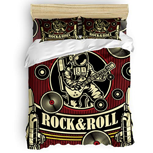 CHARMHOME 4 Piece Bedding Sets - Creative Star Theme Rock 'N 'Roll Astronaut Plays Guitar Duvet Cover Set - 1 Flat Sheet 1 Duvet Cover and 2 Pillow Cases - Queen Size]()