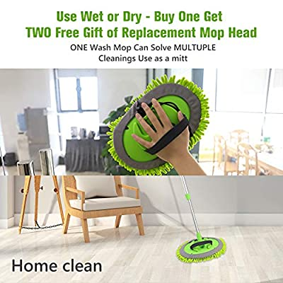 2 in 1 Chenille Microfiber Car Wash Brush Mop Mitt with 45